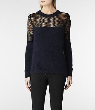 Womens Minako Mesh Sweater (Ink) - product_image_alt_text_1
