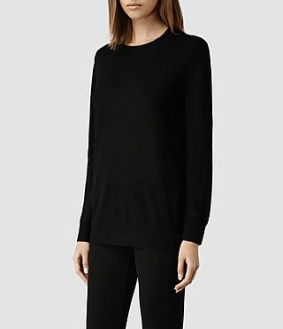 Womens Ortega Boyfriend Sweater (Black) - product_image_alt_text_2
