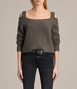 Womens Dasha Cropped Sweater (Khaki Green) - product_image_alt_text_1
