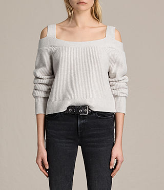 Womens Dasha Cropped Sweater (PORCELAIN WHITE) - product_image_alt_text_1