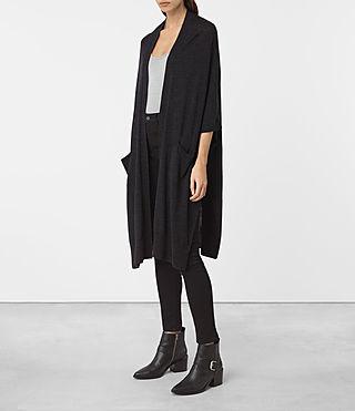 Mujer Dornie Merino Cardigan (Cinder Black Marl) - product_image_alt_text_2