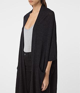 Mujer Dornie Merino Cardigan (Cinder Black Marl) - product_image_alt_text_4