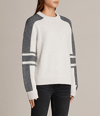 Womens Harley Crew Neck Sweater (PORCELAIN/GREY) - Image 3