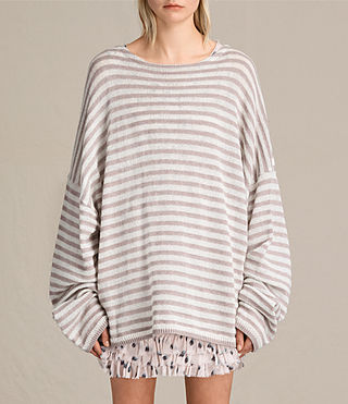 Womens Casso Crew Sweater (CREAM/QUARTZ PINK) - product_image_alt_text_1