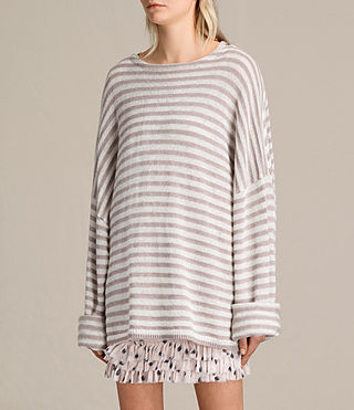 Women's Casso Crew Jumper (CREAM/QUARTZ PINK) - product_image_alt_text_3
