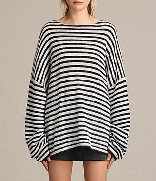 Women's Casso Crew Jumper (CREAM/INK BLUE)