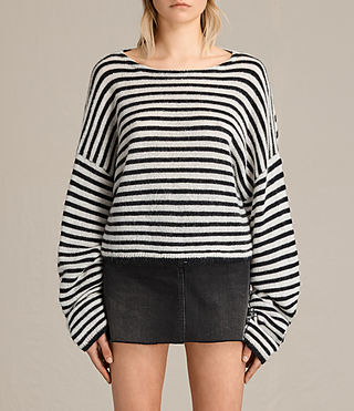 Mujer Casso Cropped Jumper (CREAM/INK BLUE)