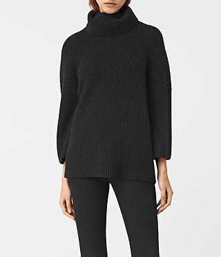 Womens Jago Roll Neck Sweater (Cinder Black Marl)