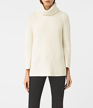 Damen Jago Roll Neck Jumper (Chalk White)