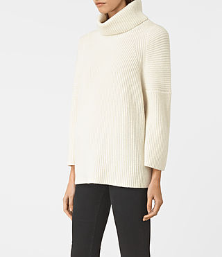 Damen Jago Roll Neck Jumper (Chalk White) - product_image_alt_text_3