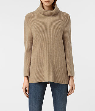 Damen Jago Roll Neck Jumper (SAND BROWN MARL)