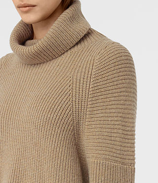 Damen Jago Roll Neck Jumper (SAND BROWN MARL) - product_image_alt_text_2