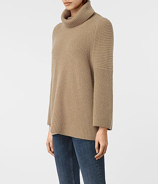Damen Jago Roll Neck Jumper (SAND BROWN MARL) - product_image_alt_text_3