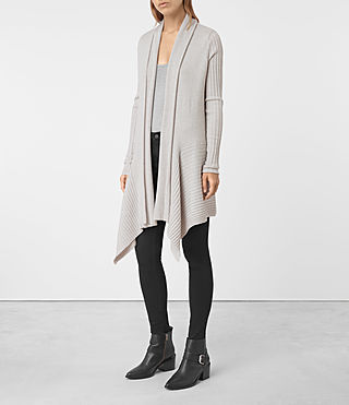 Womens Keld Long Merino Cardigan (Stone Grey)
