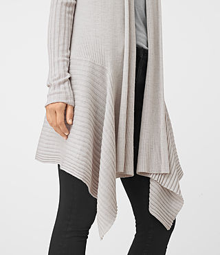 Mujer Keld Long Cardigan (Stone Grey) - product_image_alt_text_2