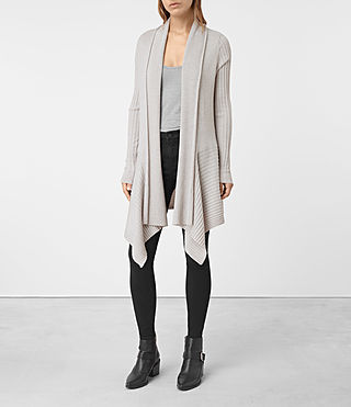 Womens Keld Long Merino Cardigan (Stone Grey) - product_image_alt_text_3