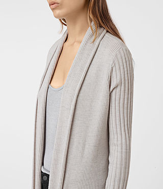 Womens Keld Long Merino Cardigan (Stone Grey) - product_image_alt_text_4