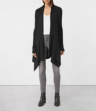 Womens Keld Long Merino Cardigan (Cinder Black Marl)
