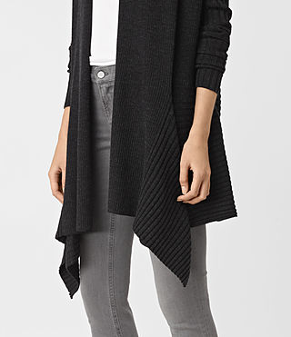 Damen Keld Long Merino Cardigan (Cinder Black Marl) - product_image_alt_text_2