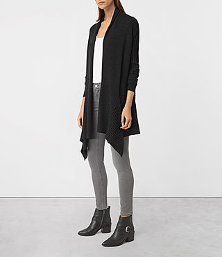 Femmes Keld Long Merino Cardigan (Cinder Black Marl) - product_image_alt_text_3