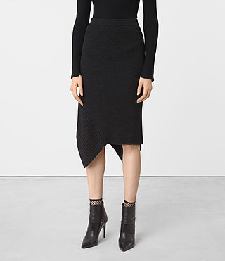 Mujer Keld Merino Skirt (Cinder Black Marl)