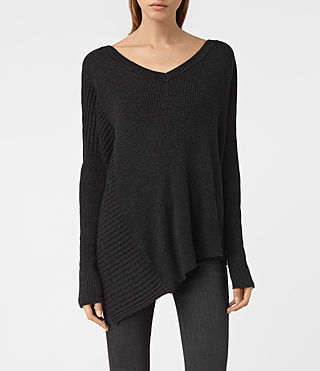 Womens Keld V-Neck Sweater (Cinder Black Marl)