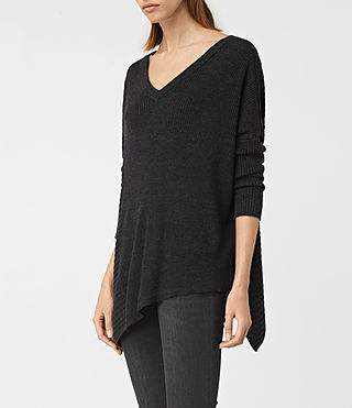 Womens Keld V-Neck Sweater (Cinder Black Marl) - product_image_alt_text_2