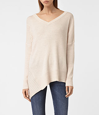 Damen Keld V-Neck Jumper (ALMOND PINK MARL)
