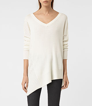 Mujer Keld V-Neck Sweater (Chalk White)