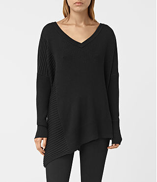 Womens Keld V-Neck Sweater (Black) - product_image_alt_text_1