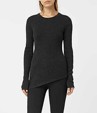 Mujer Keld Crew Neck Sweater (Cinder Black Marl) - product_image_alt_text_1