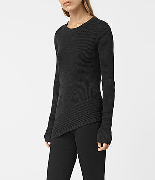 Mujer Keld Crew Neck Sweater (Cinder Black Marl) - product_image_alt_text_2