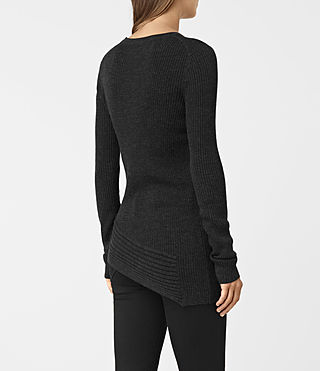 Mujer Keld Crew Neck Sweater (Cinder Black Marl) - product_image_alt_text_4