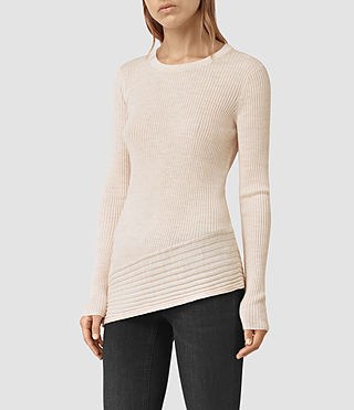 Mujer Keld Crew Neck Sweater (ALMOND PINK MARL) - product_image_alt_text_1