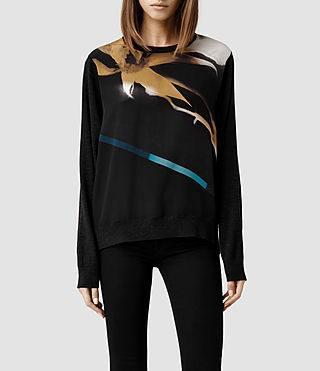 Womens Disperse Silk Sweater (Cinder Marl)