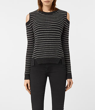 Womens Mull Sweater (CINDER BLACK/CHALK) - product_image_alt_text_1