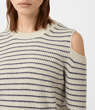 Mujer Mull Sweater (PORC WHT/NVY BLUE) - product_image_alt_text_2