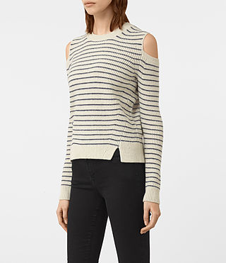 Mujer Mull Sweater (PORC WHT/NVY BLUE) - product_image_alt_text_3