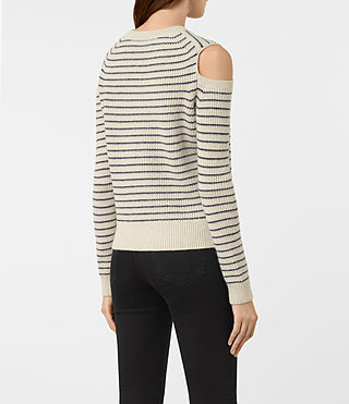 Mujer Mull Sweater (PORC WHT/NVY BLUE) - product_image_alt_text_4