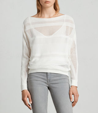 Mujer Springs Slash Neck Sweater (Chalk White) - product_image_alt_text_1