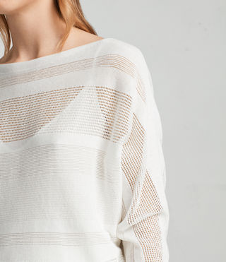 Mujer Springs Slash Neck Sweater (Chalk White) - product_image_alt_text_2