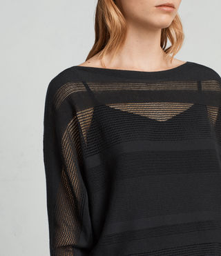Womens Springs Slash Neck Sweater (Black) - product_image_alt_text_2