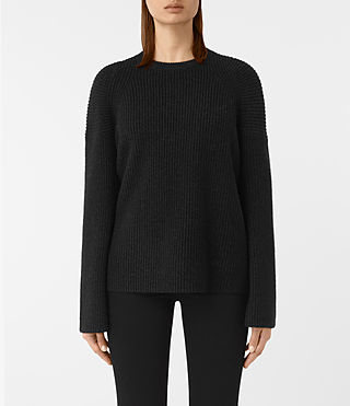 Damen Jago Crew Neck Jumper (Cinder Black Marl)