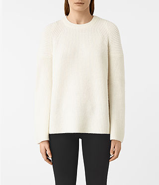 Mujer Jago Crew Neck Jumper (Chalk White) - product_image_alt_text_2