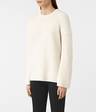 Women's Jago Crew Neck Jumper (Chalk White) - product_image_alt_text_3