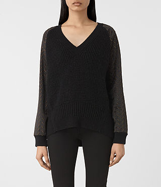 Womens Fia Embroidered Sweater (Black) - product_image_alt_text_1