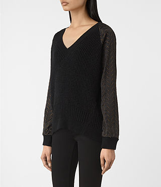 Women's Fia Embroidered Jumper (Black) - product_image_alt_text_3