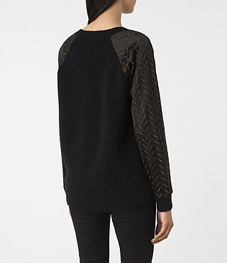 Women's Fia Embroidered Jumper (Black) - product_image_alt_text_4