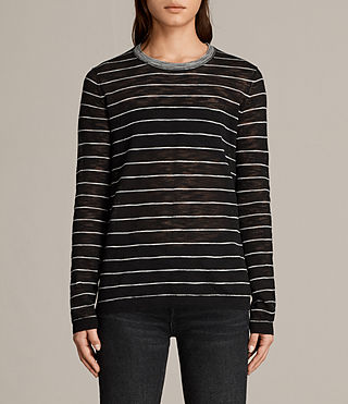 Womens Brook Crew Neck Sweater (Black/White) - product_image_alt_text_1