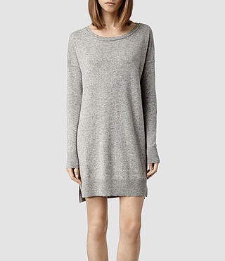 Womens Char Cashmere Sweater Dress (Grey Marl)